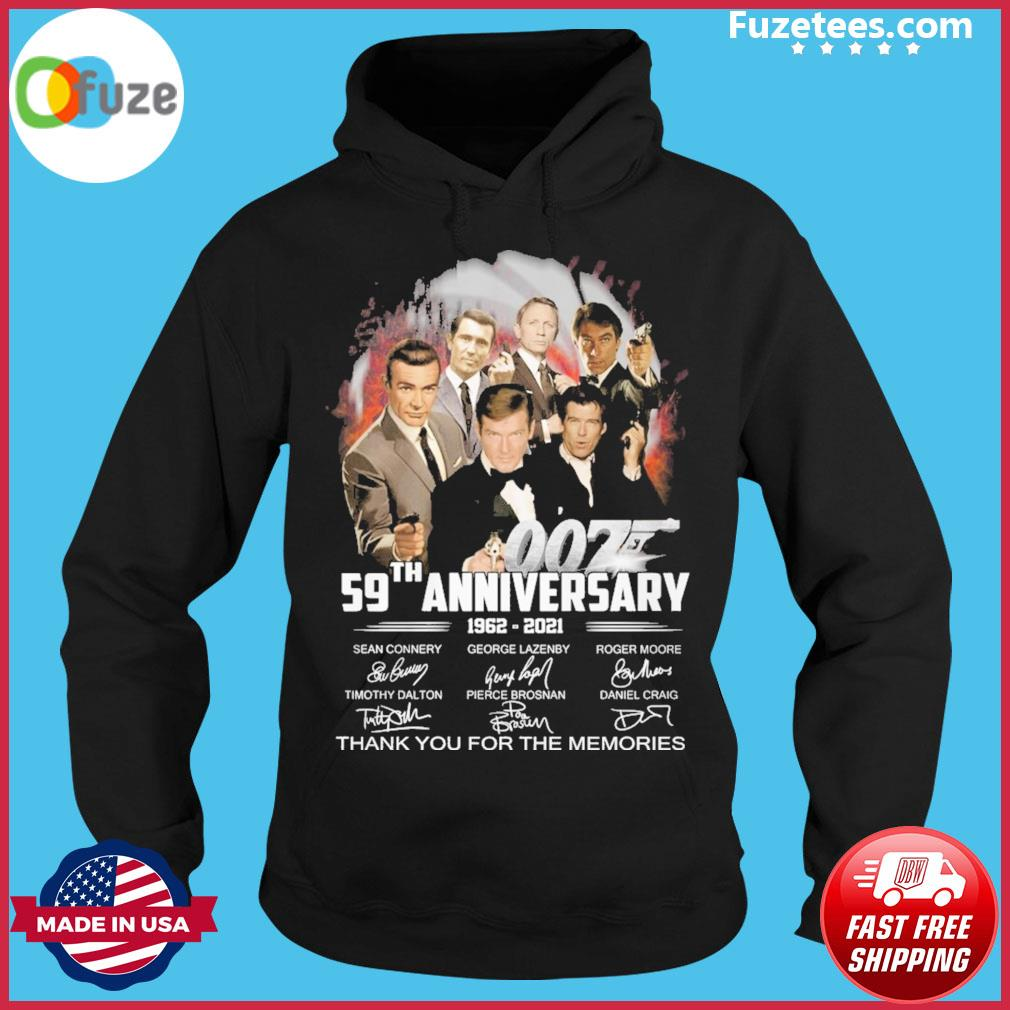 007 59th anniversary 1962 2021 signature thank you for the memories Hoodie