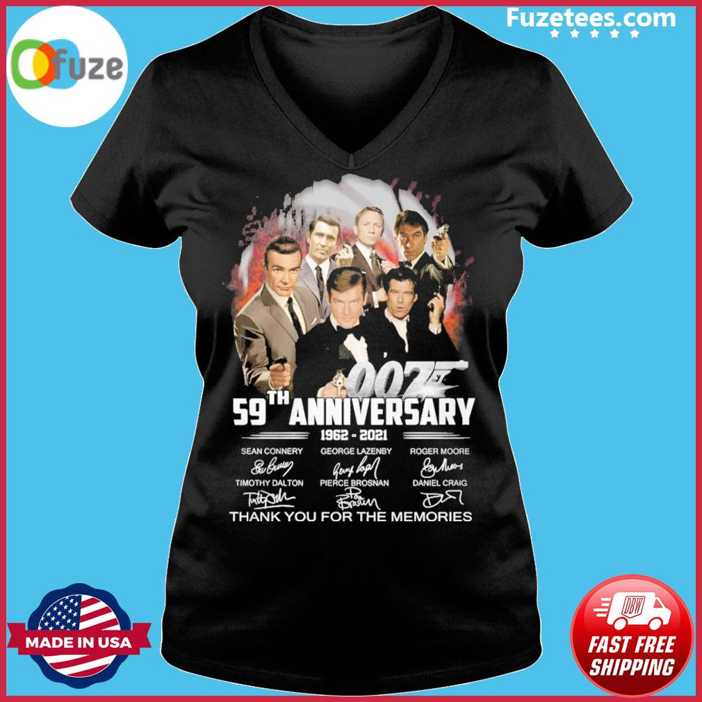 007 59th anniversary 1962 2021 signature thank you for the memories Ladies V-neck