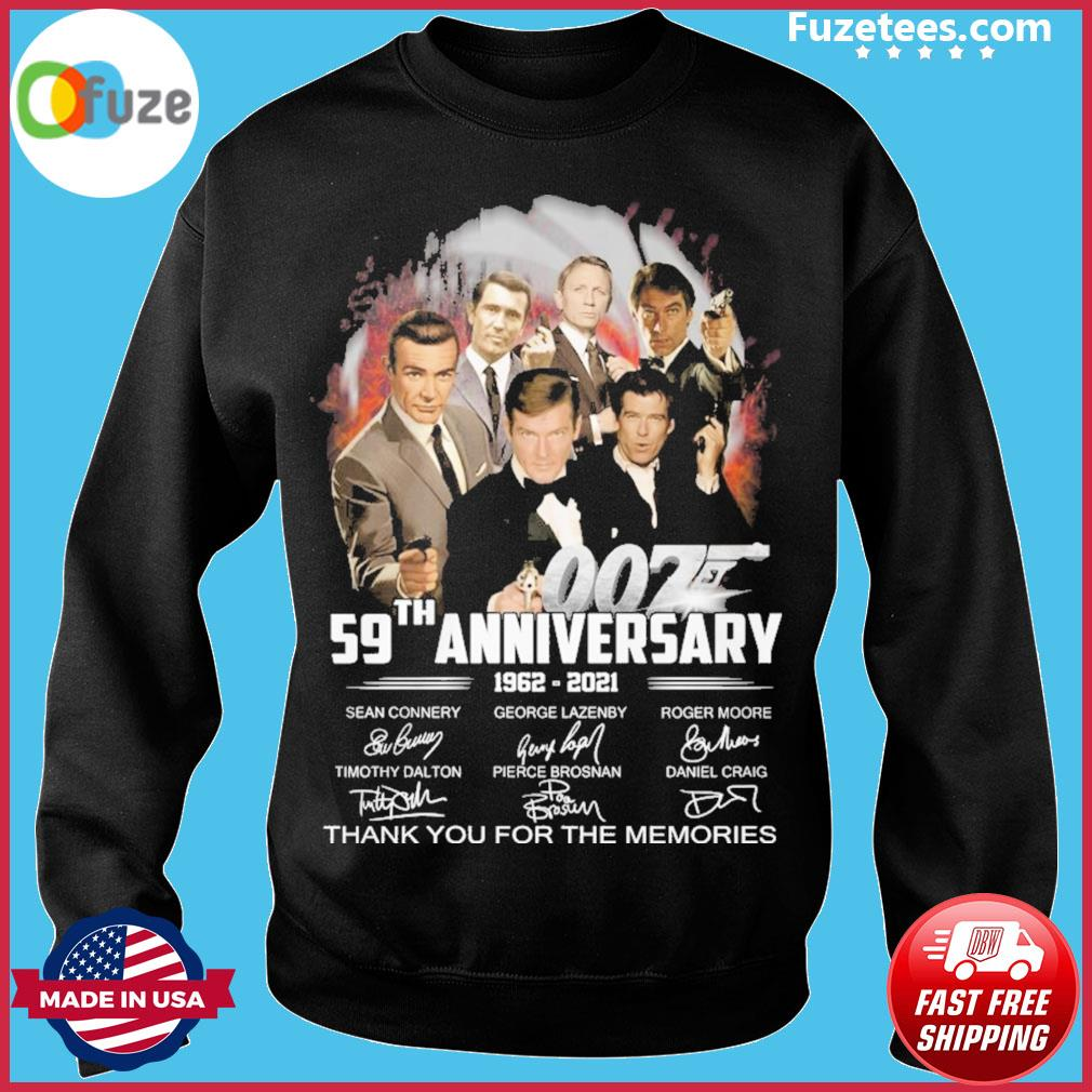 007 59th anniversary 1962 2021 signature thank you for the memories Sweater