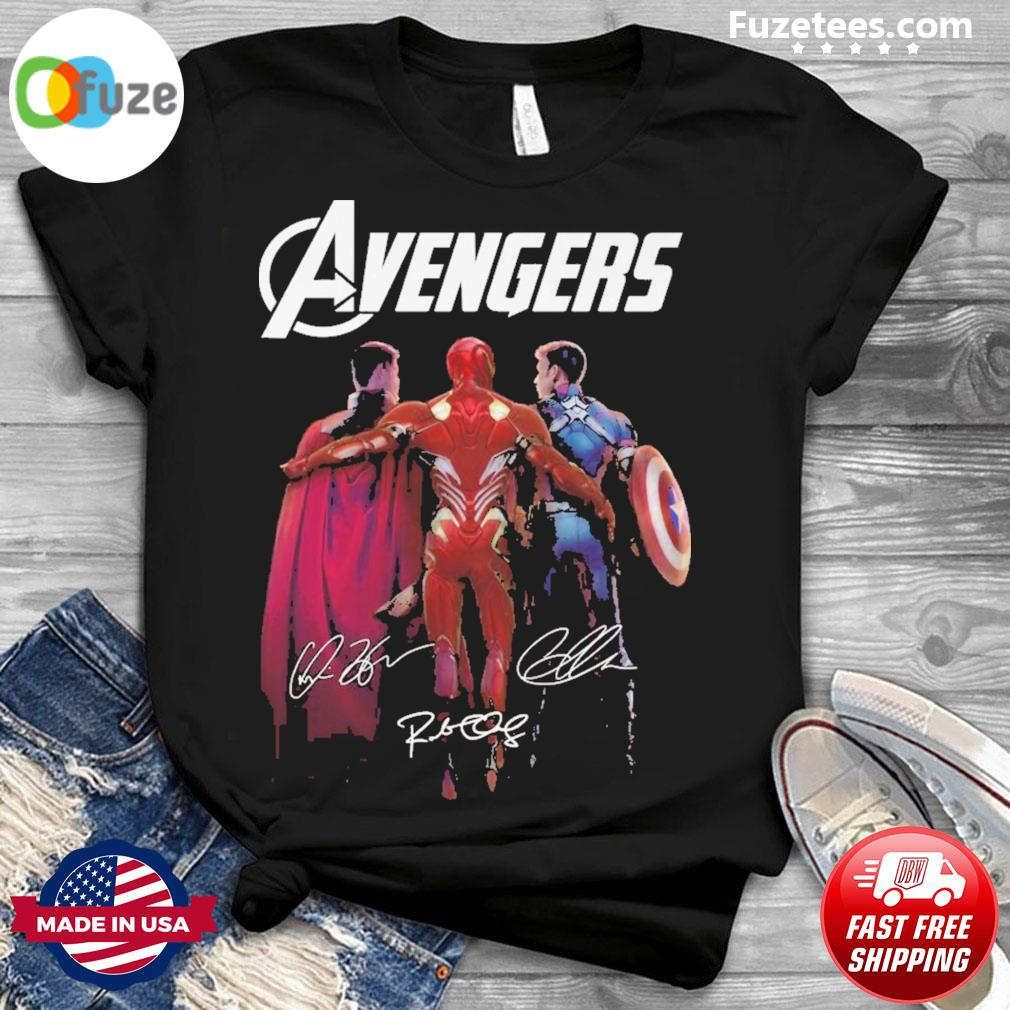 Avengers Iron Man and Captain America and Thor signatures 2021 shirt