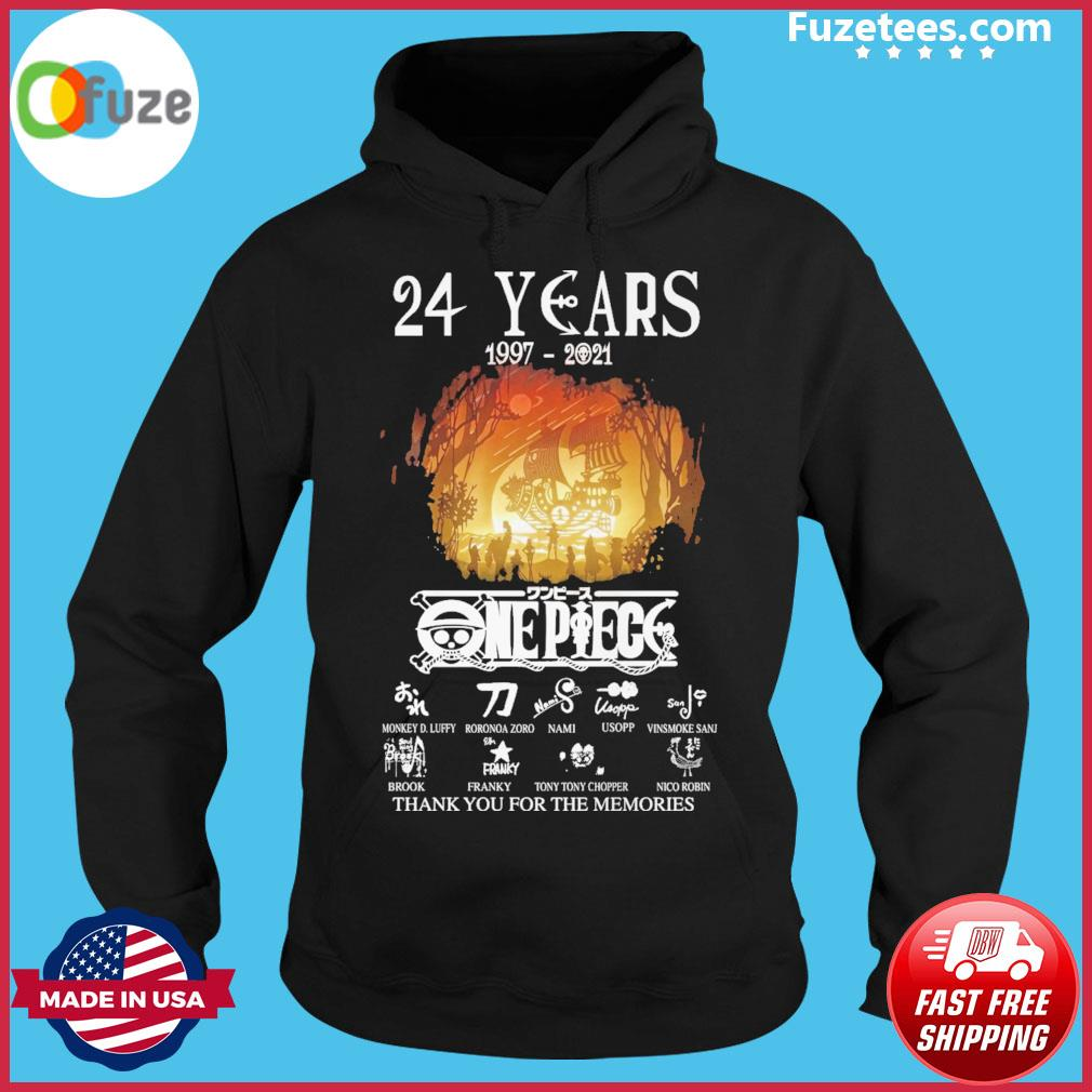 24 years 1997 2021 One Piece signatures thank you for the memories Hoodie