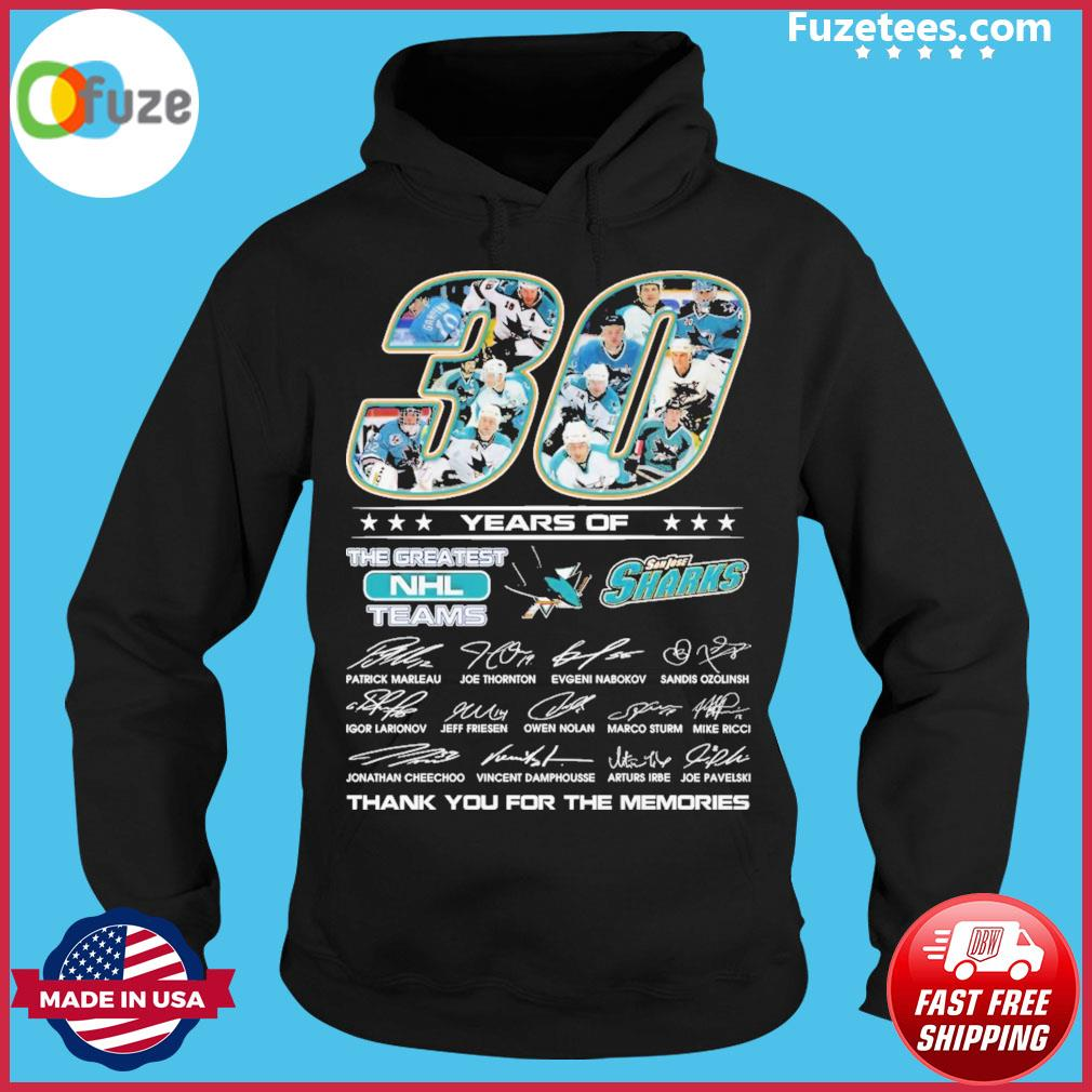30 years of the greatest NHL San Jose Sharks teams Houston Astros signatures thank you for the memories Hoodie