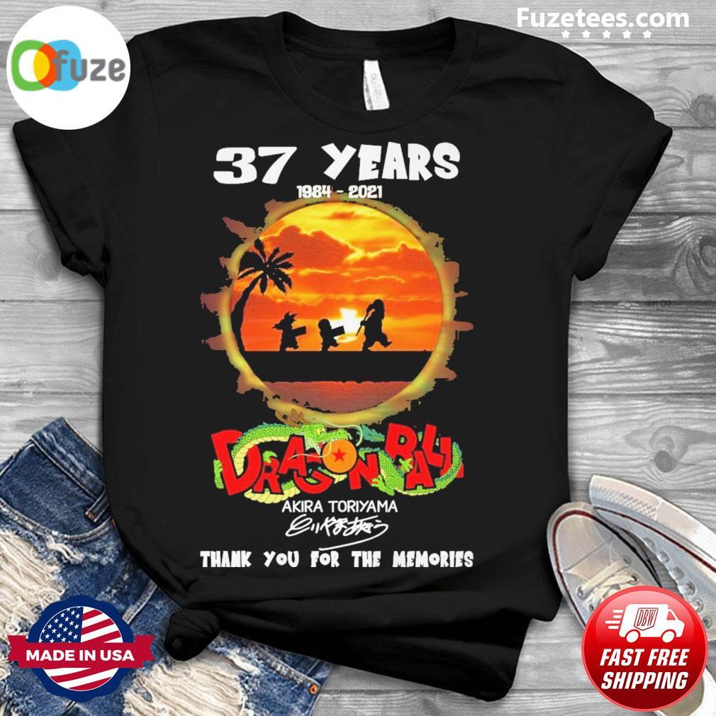 37 years 1984 2021 Dragon Ball Akira Toriyama Signatures thank you for the memories shirt