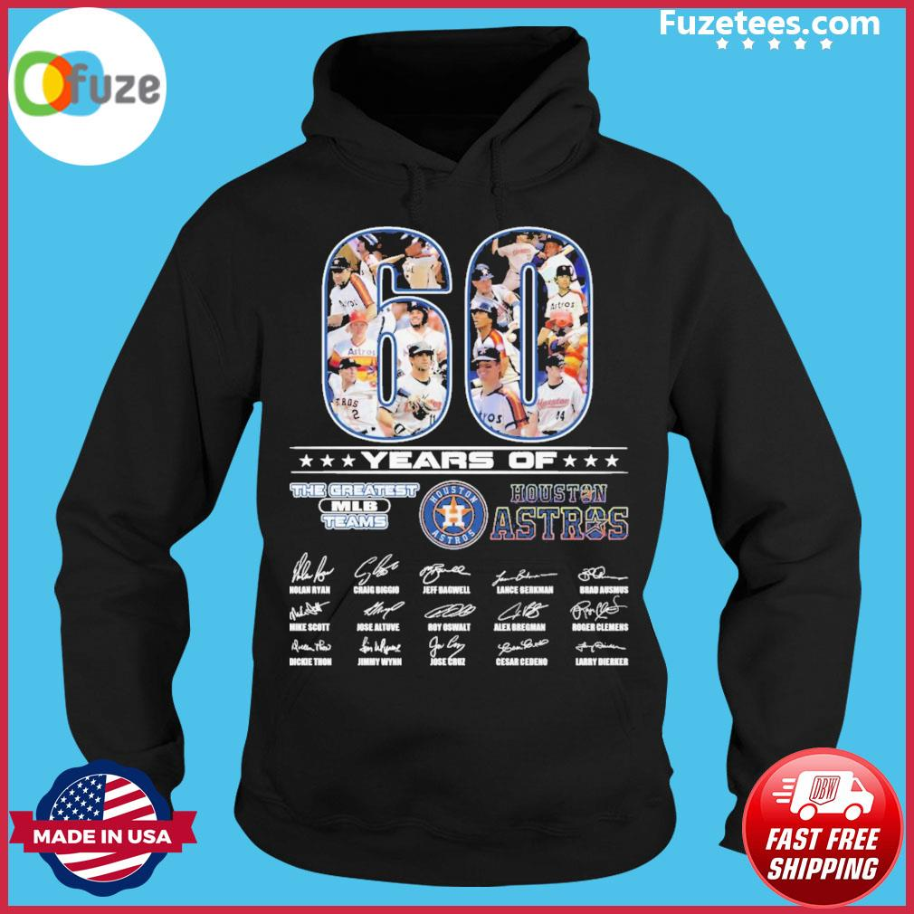 60 years of the greatest MLB teams Houston Astros signatures thank you for the memories Hoodie