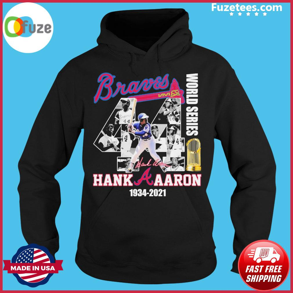 Braves world series Hank Aaron 1934 2021 signature thank you for the memories Hoodie