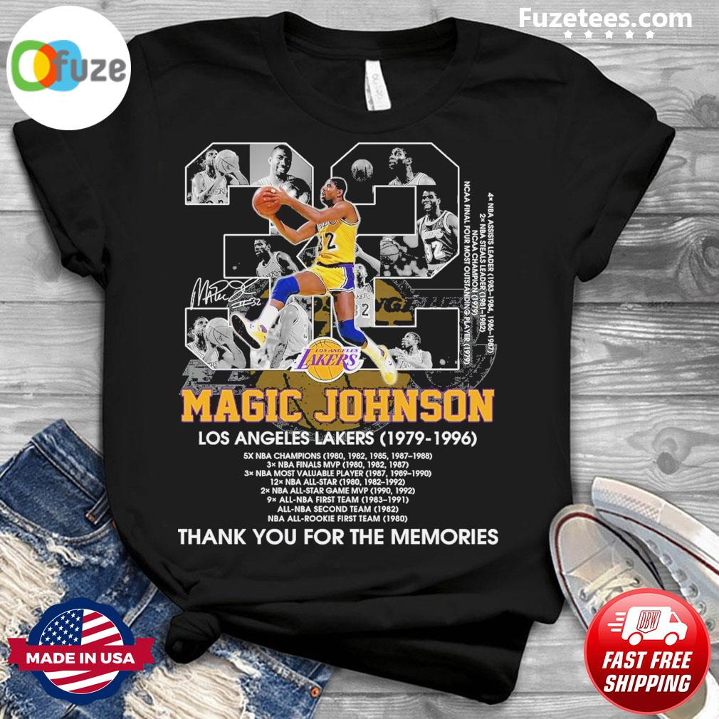 32 Magic Johnson Los Angeles Lakers 1979 1996 thank you for the memories shirt