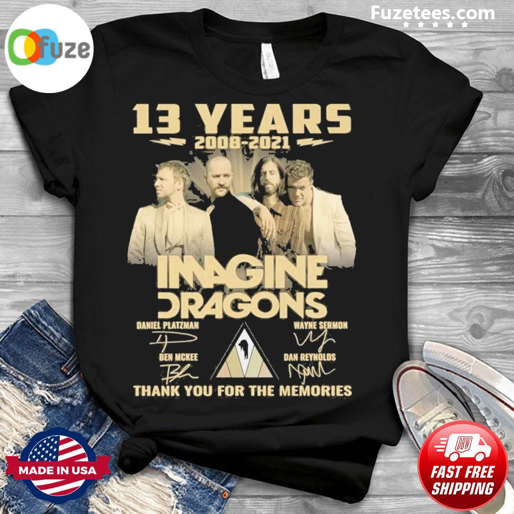 13 years 2008 2021 Imagine Dragons signatures thank you for the memories shirt