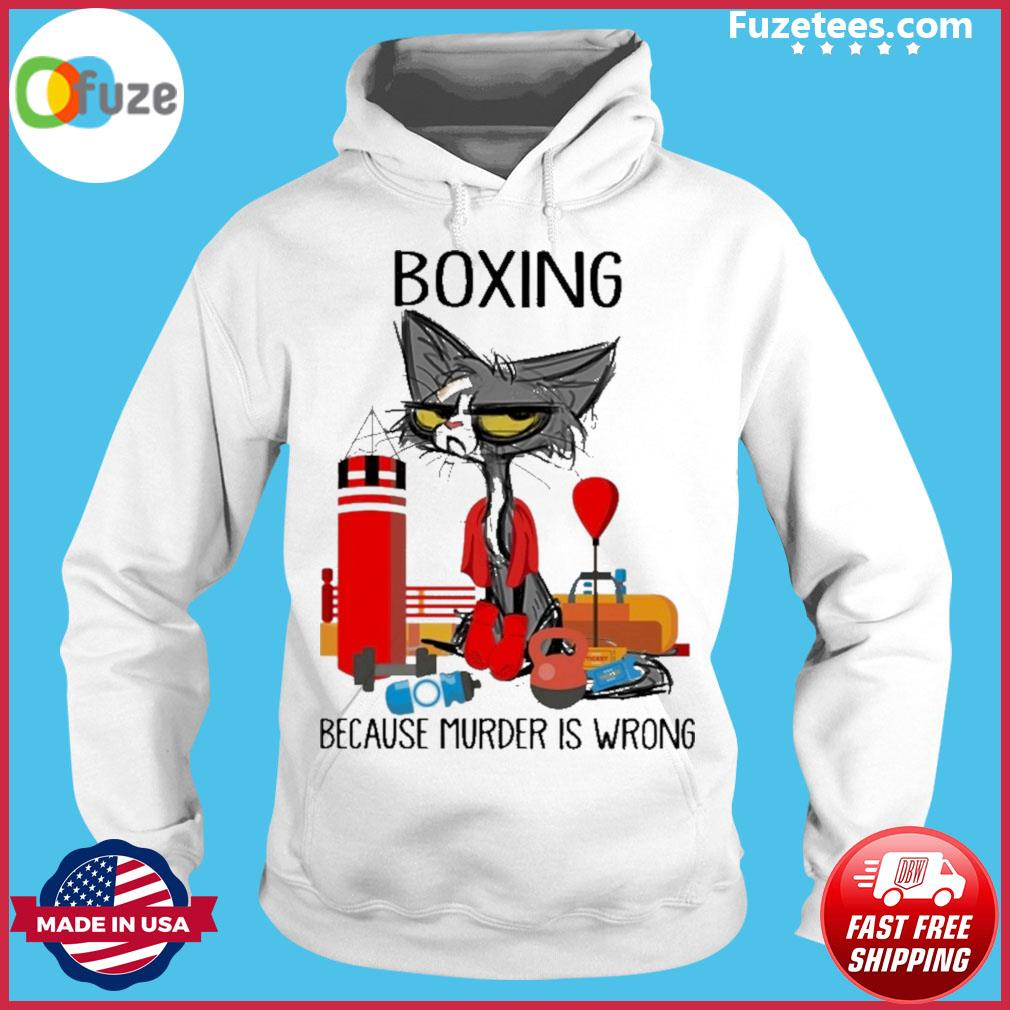 Black Cat Boxing because murder Is wrong Hoodie