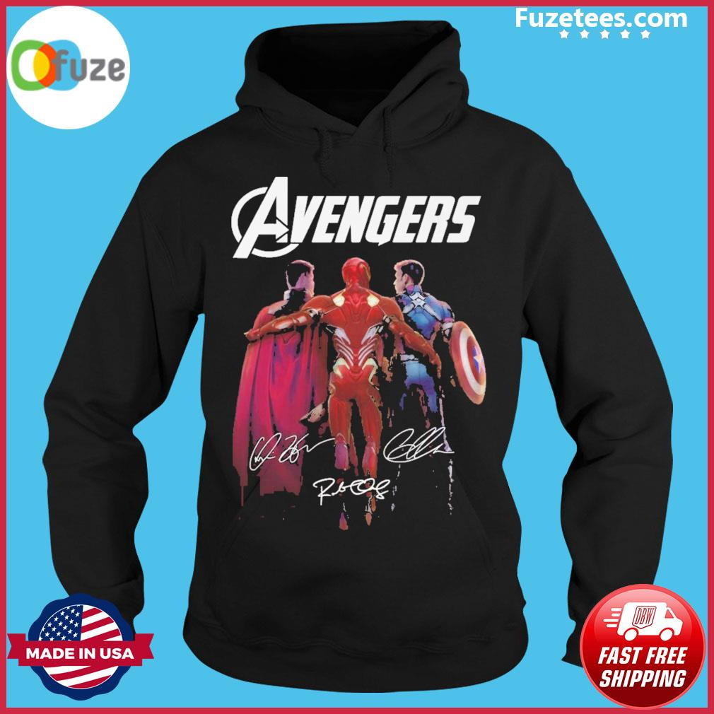 Avengers Iron Man and Captain America and Thor signatures 2021 Hoodie