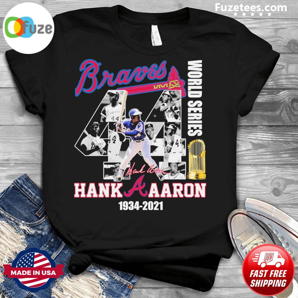 Braves world series Hank Aaron 1934 2021 signature thank you for the memories shirt