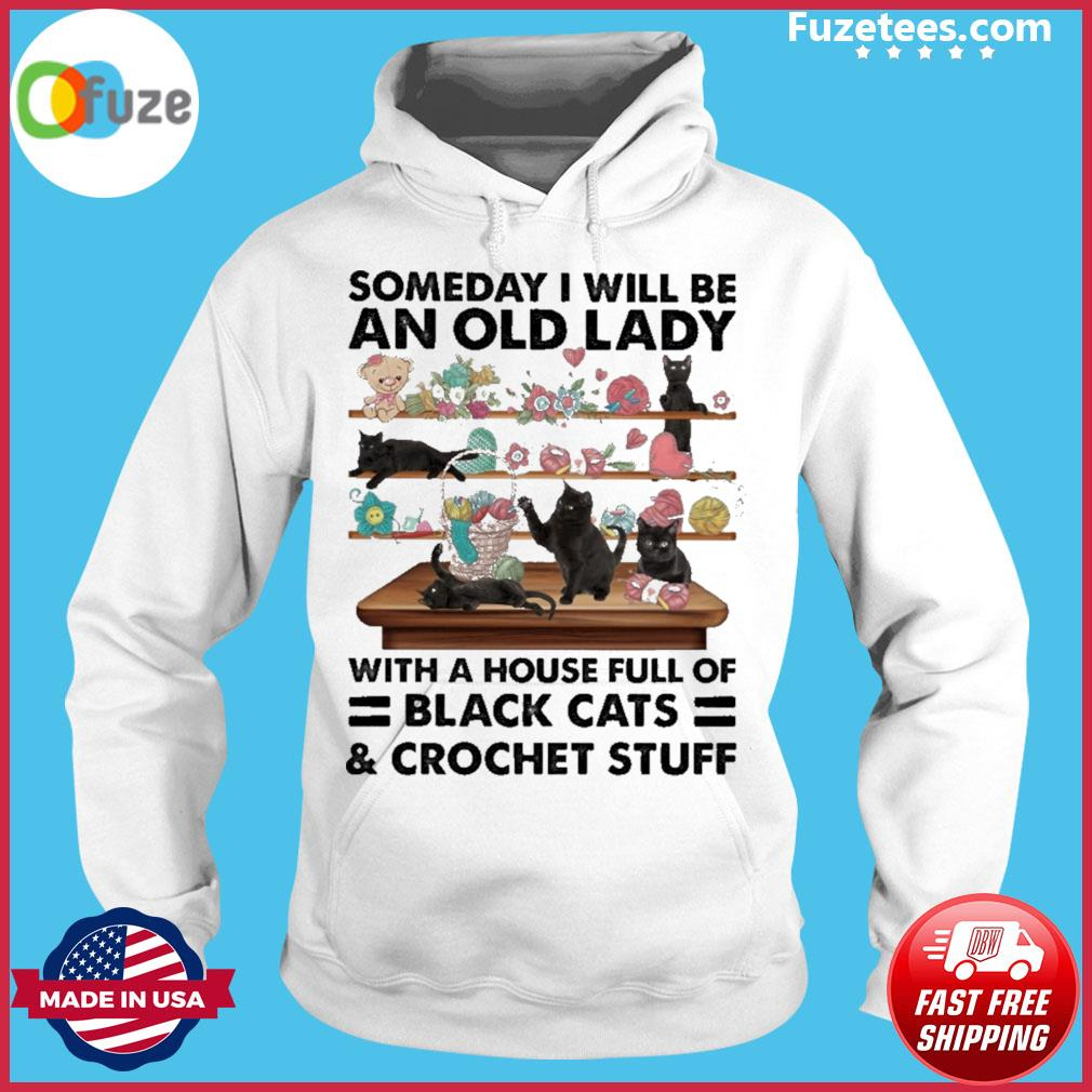 Someday I will be an old lady with horse full of black Cats and crochet stuff Hoodie