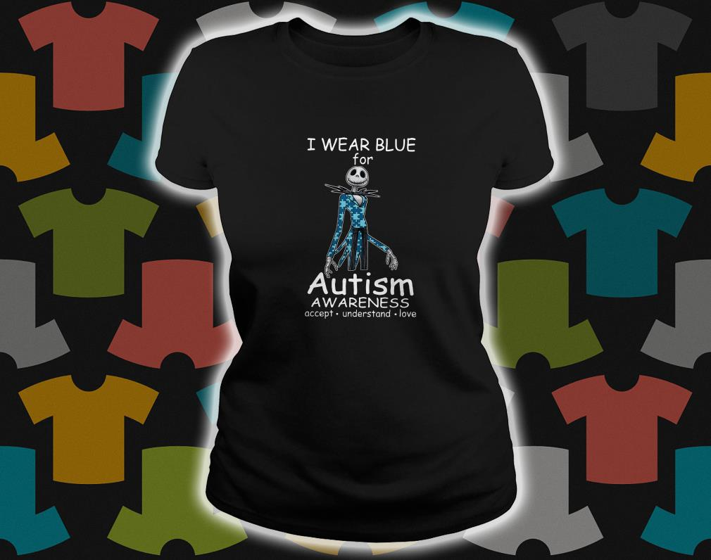 Jack skellington I wear blue for autism awareness ladies tee
