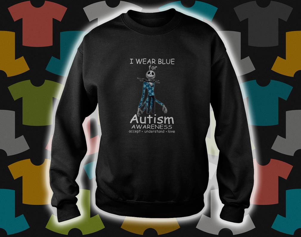 Jack skellington I wear blue for autism awareness sweater