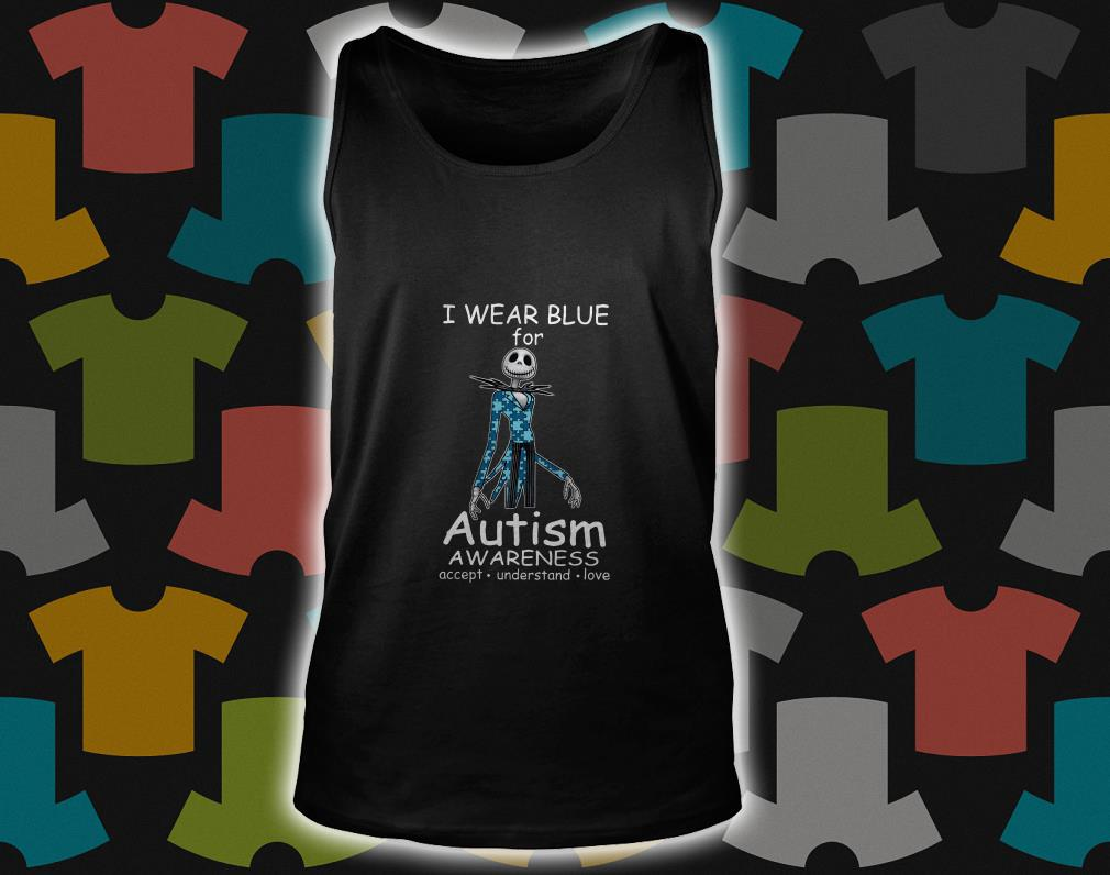 Jack skellington I wear blue for autism awareness tank top