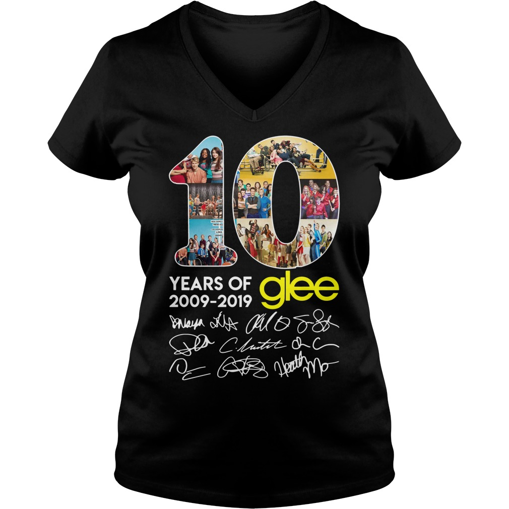 10 years of Glee 2009 2019 signature ladies tee