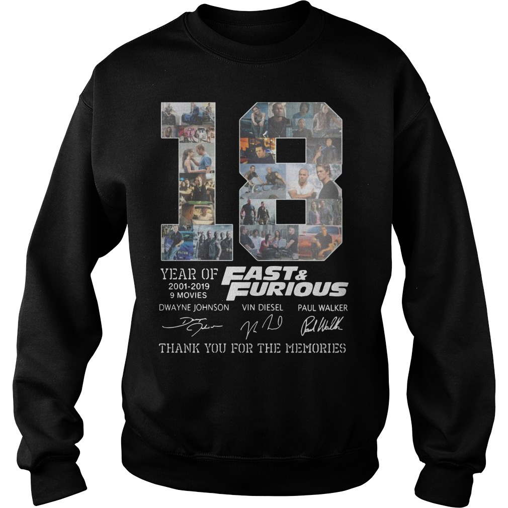18 Years Of Fast And Furious 2001 2019 Thank You For The Memories sweater