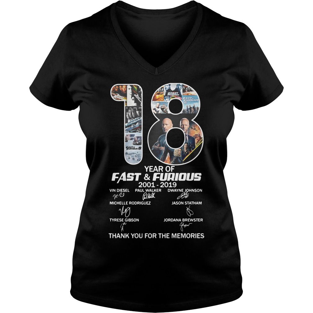 18 Years Of Fast And Furious Signature Thank You For The Memories ladies tee