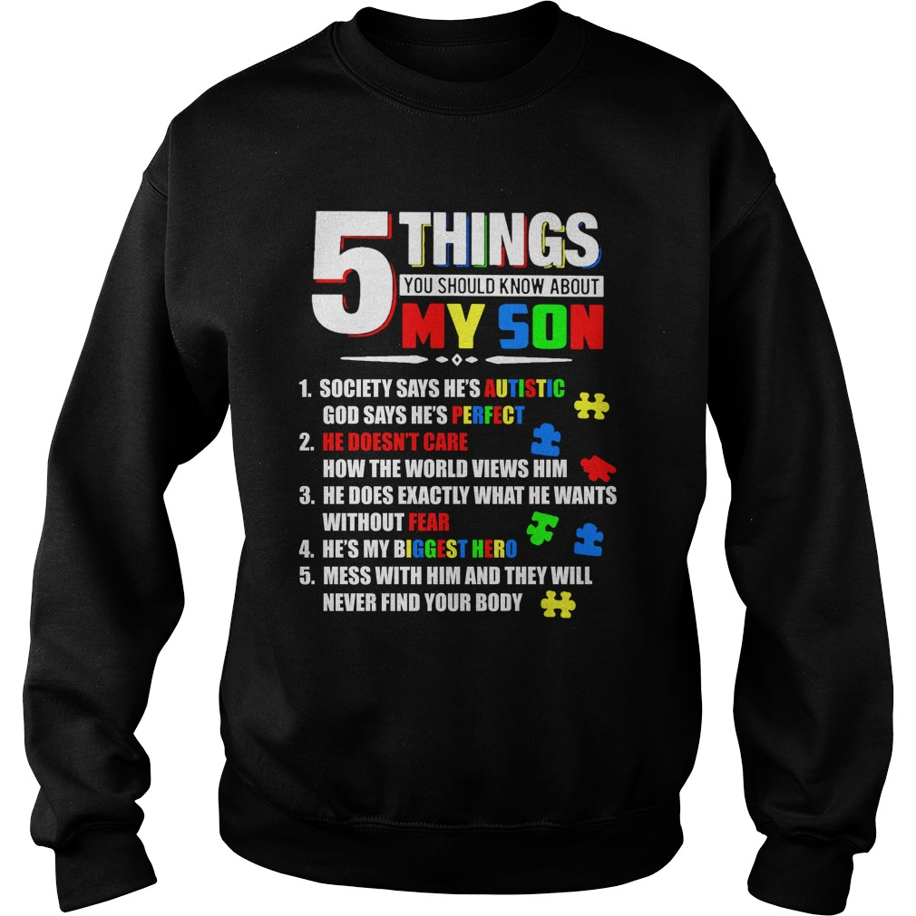 5 Things You Should Know About My Son autism sweater