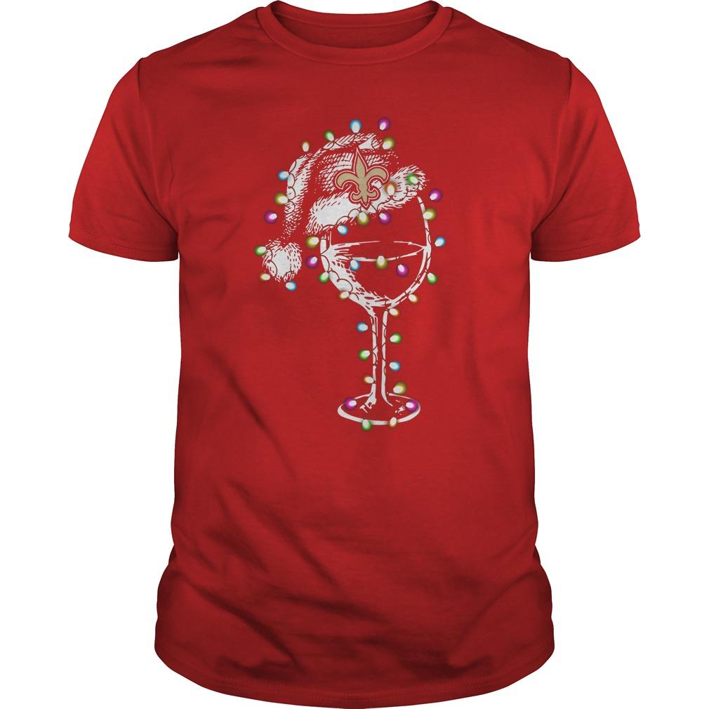 quality design 39e47 0dbdc New Orleans Saints wine claus light christmas shirt
