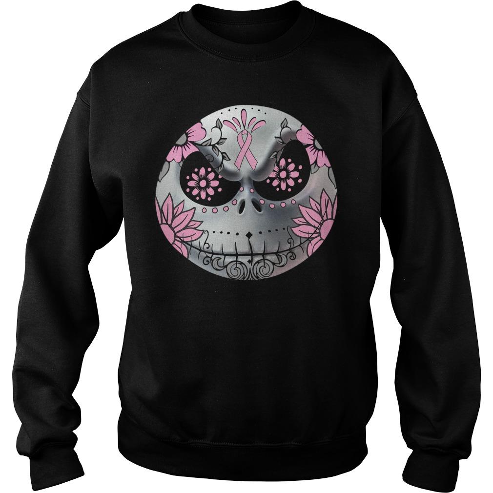 Breast Cancer Jack Skellington face sweater