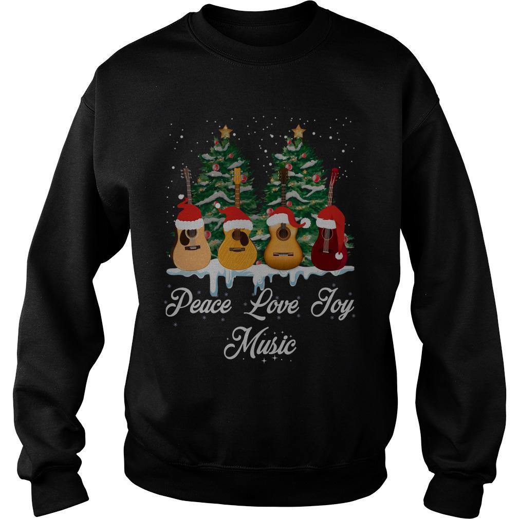 Guitar Peace Love Joy Music christmas tree sweater