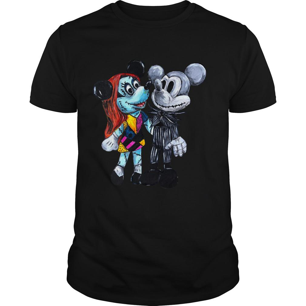 Jack Skellington and Sally style Mickey Mouse shirt