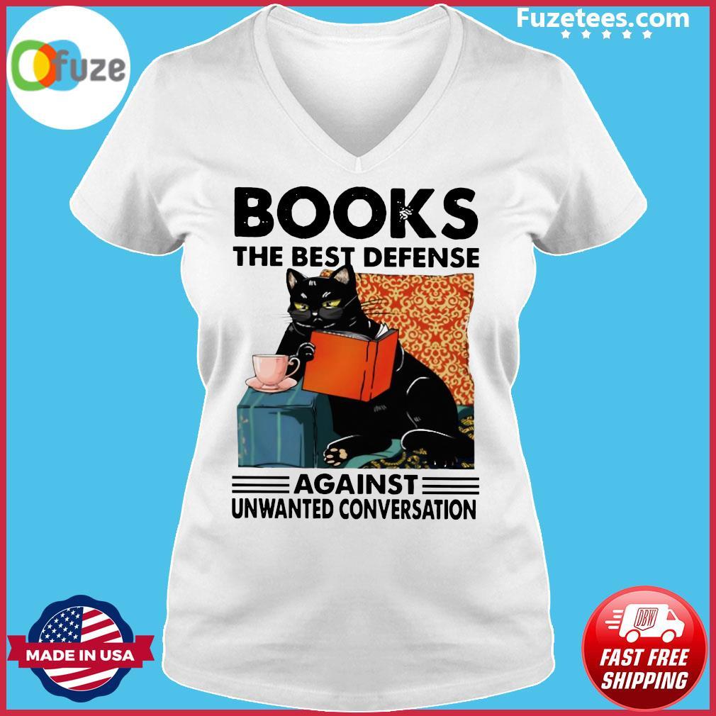 Black Cat Books The Best Defense Against Unwanted Conversation Shirt Ladies V-neck