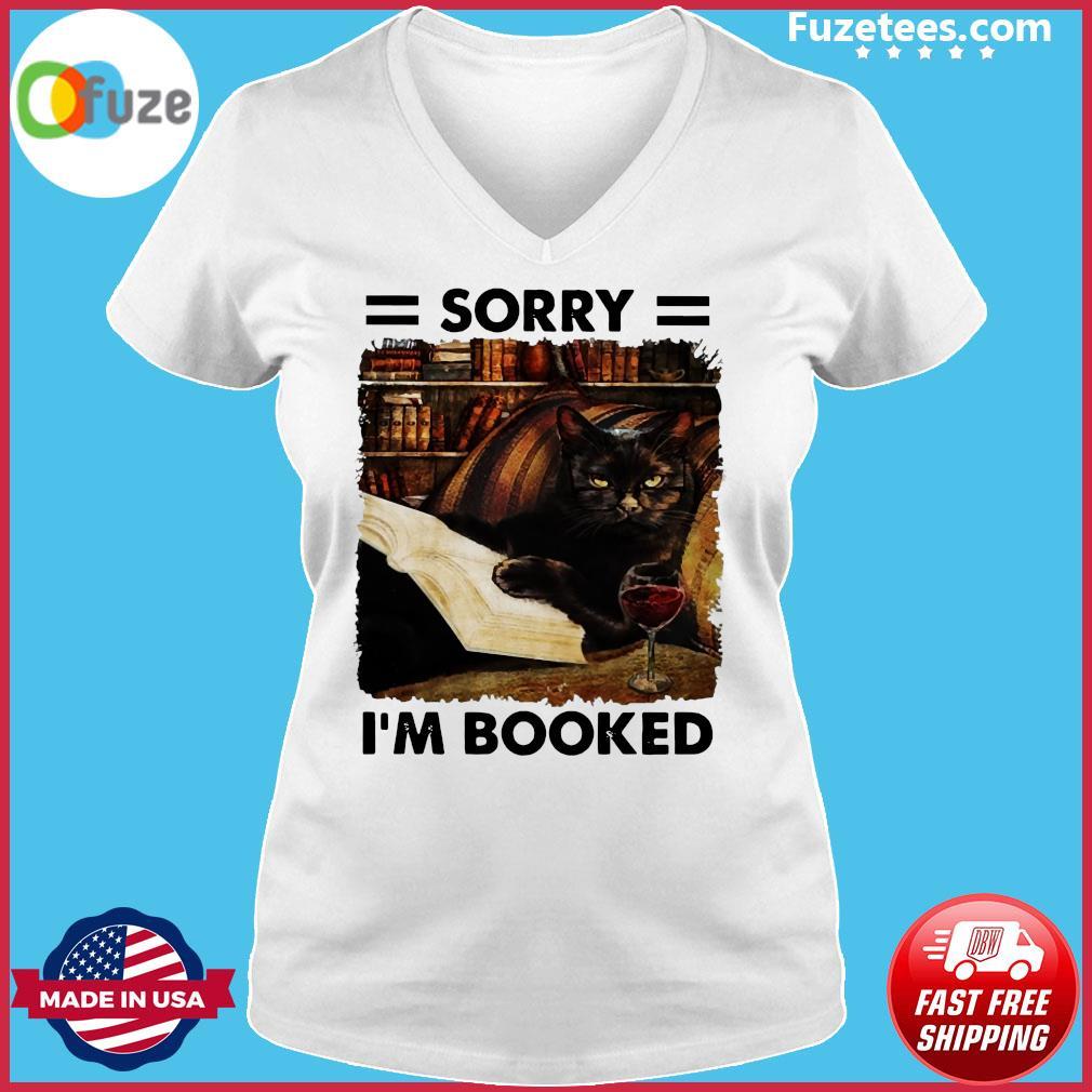 Black Cat Sorry I'm Booked Shirt Ladies V-neck