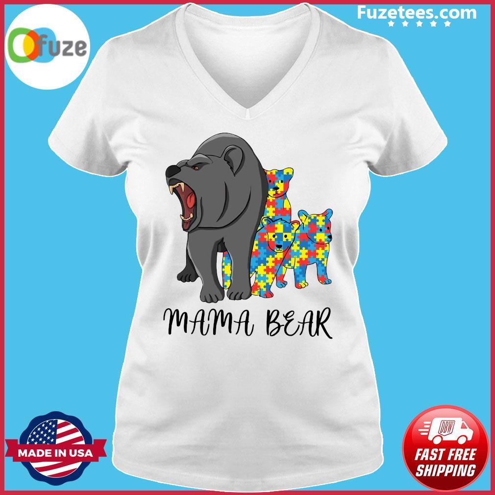Mama Bear Autism Shirt Ladies V-neck