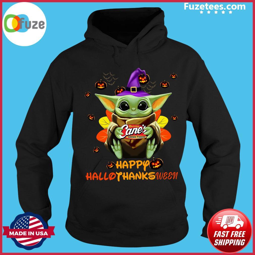Baby Yoda Witch Hug Raising Cane's Chicken Fingers Happy Hallothanksween Shirt Hoodie