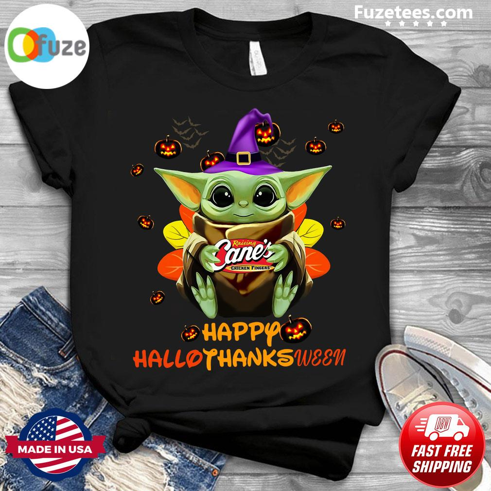 Baby Yoda Witch Hug Raising Cane's Chicken Fingers Happy Hallothanksween Shirt