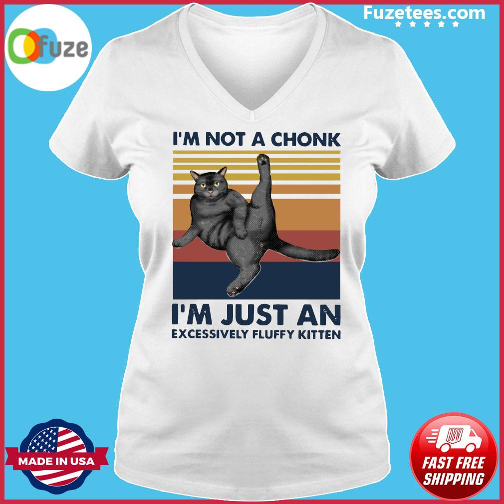 Cat I'm Not A Chonk I'm Just An Excessively Fluffy Kitten Vintage Retro Shirt Ladies V-neck