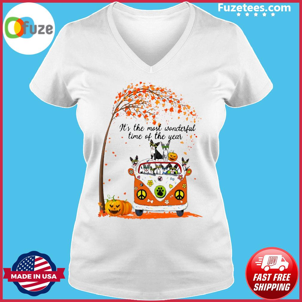 Halloween Cat Pumpkin It's The Most Wonderful Time Of The Year Shirt Ladies V-neck