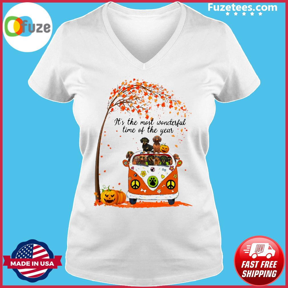 Halloween Dachshund Pumpkin It's The Most Wonderful Time Of The Year Shirt Ladies V-neck