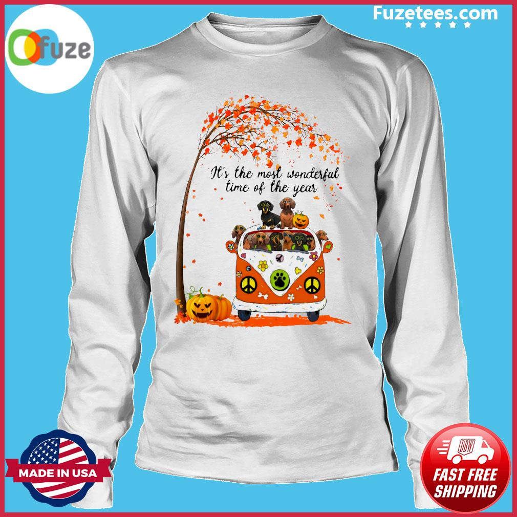 Halloween Dachshund Pumpkin It's The Most Wonderful Time Of The Year Shirt Long Sleeve
