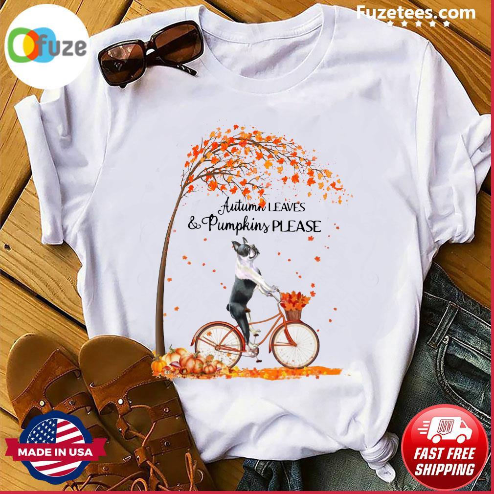Pug Cycle Autumn Leaves And Pumpkins Please Halloween Shirt