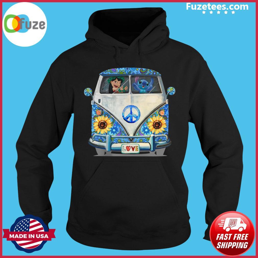 Stitch And Lilo Hippie Peace Car Sunflower Shirt Hoodie