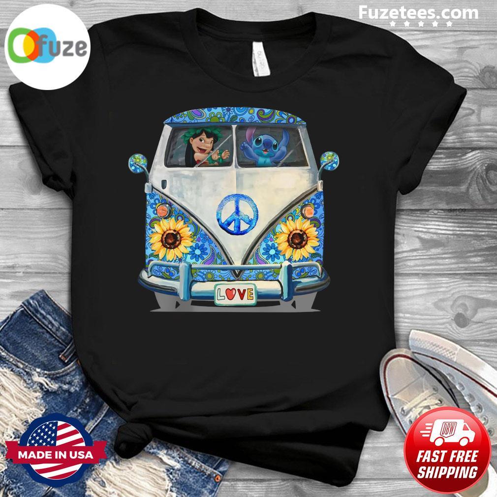 Stitch And Lilo Hippie Peace Car Sunflower Shirt