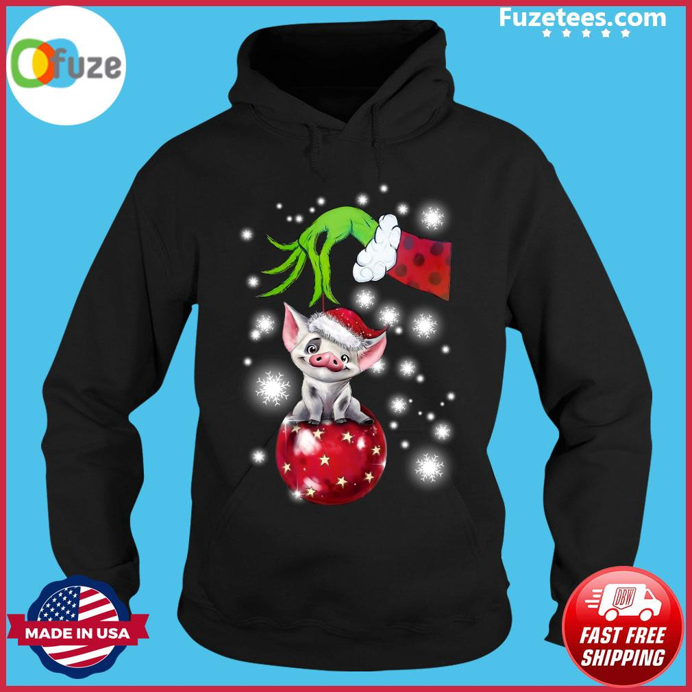 The Grinch Hand Holding Santa Pig Sweats Hoodie