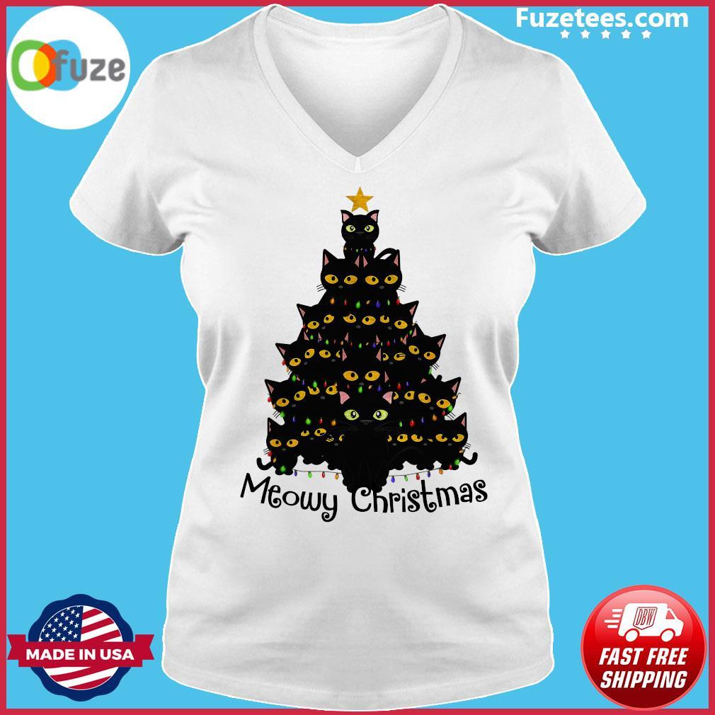 Black Cats Meowy Christmas Tree Sweats Ladies V-neck