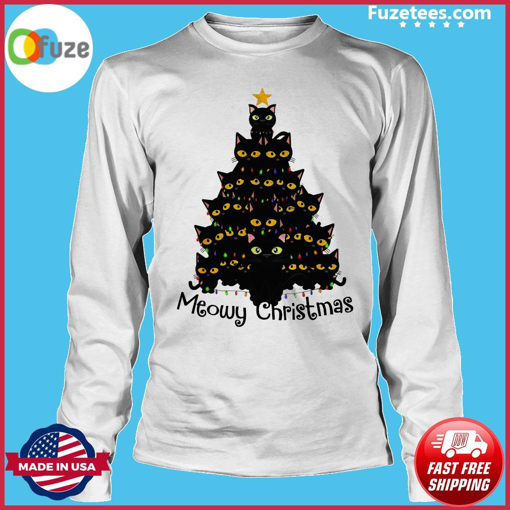 Black Cats Meowy Christmas Tree Sweats Long Sleeve