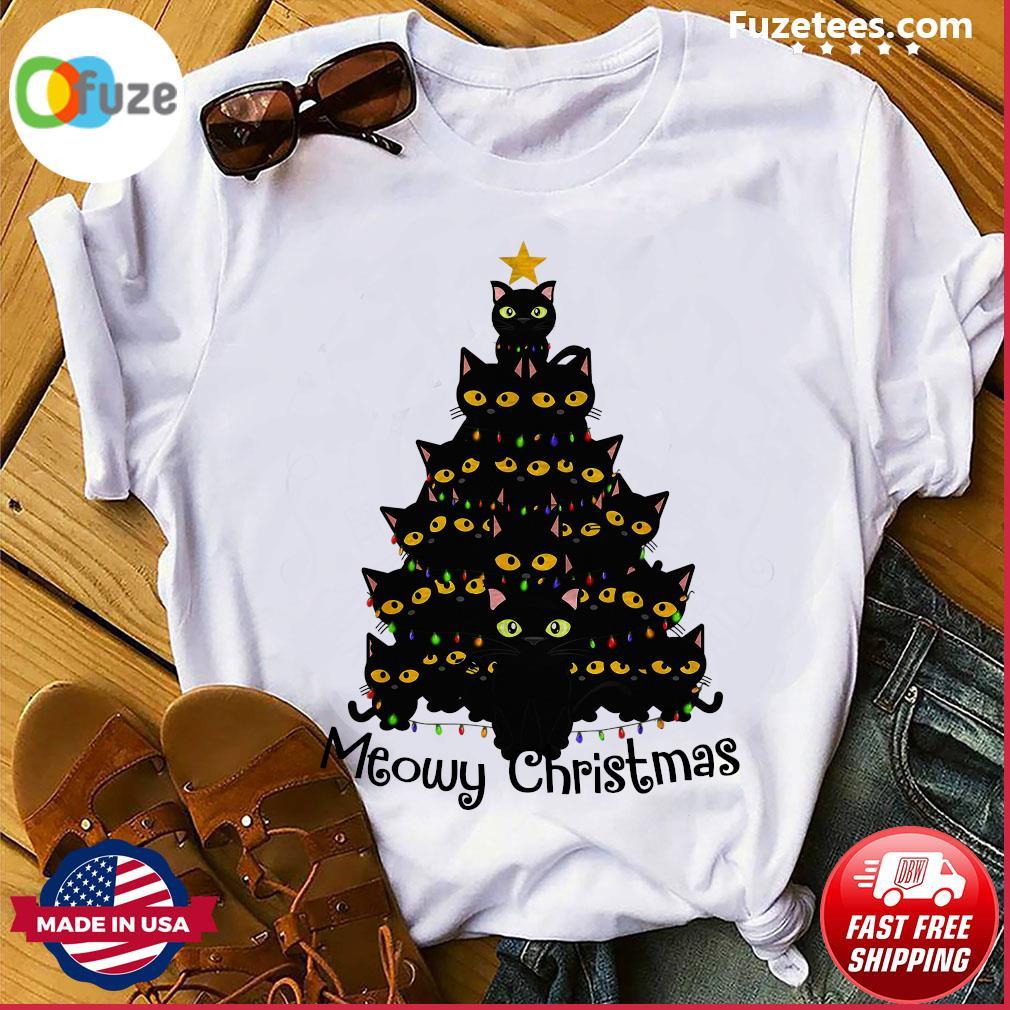 Black Cats Meowy Christmas Tree Sweatshirt