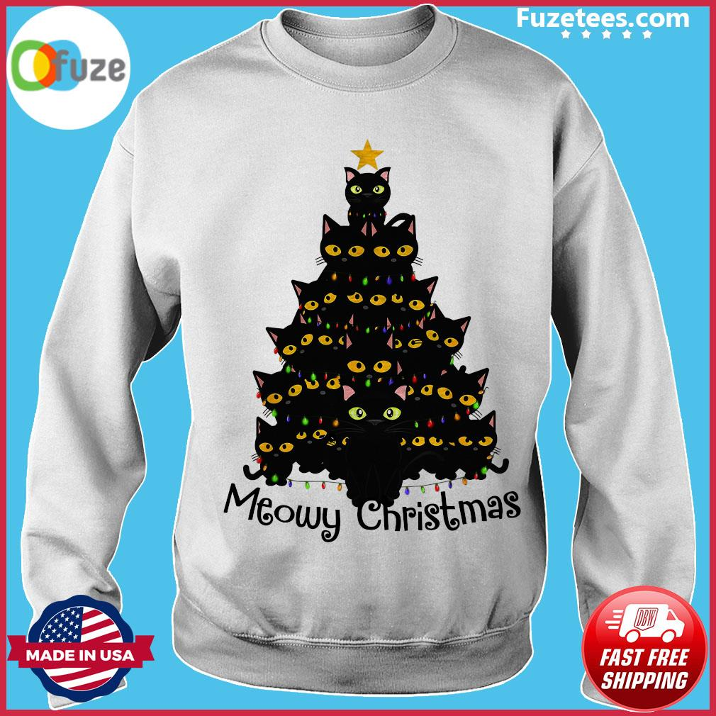 Black Cats Meowy Christmas Tree Sweats Sweater