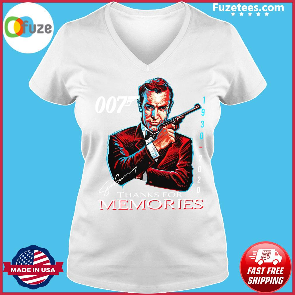 007 Sean Connery 1930 2020 Thank You For The Memories Signature Shirt Ladies V-neck