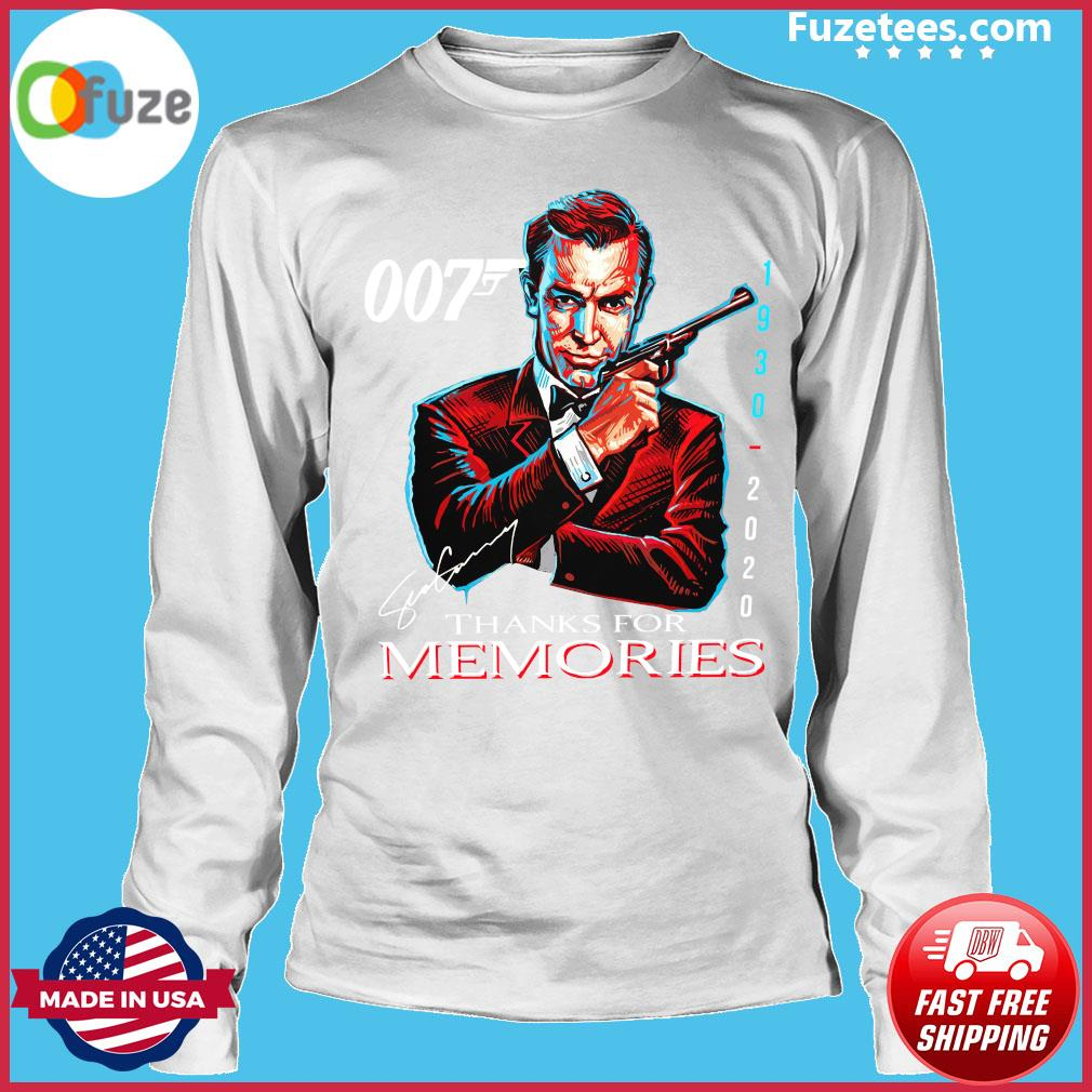 007 Sean Connery 1930 2020 Thank You For The Memories Signature Shirt Long Sleeve