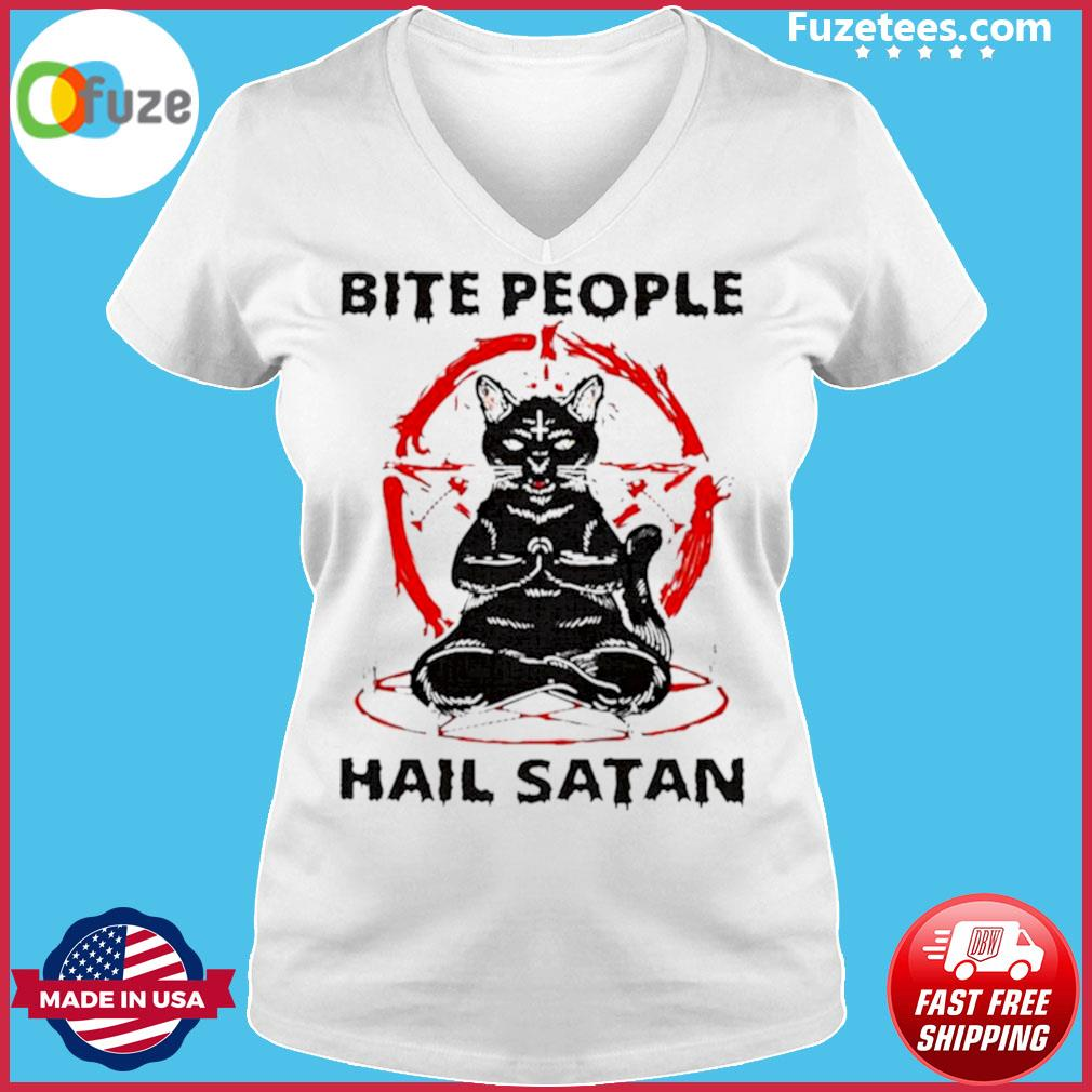 Black cat bite people hail satan s Ladies V-neck
