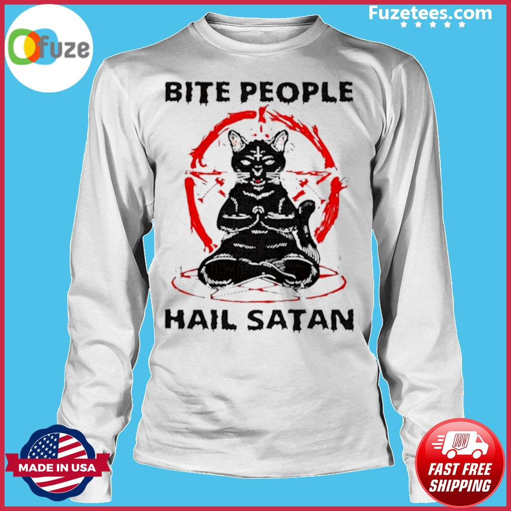Black cat bite people hail satan s Long Sleeve