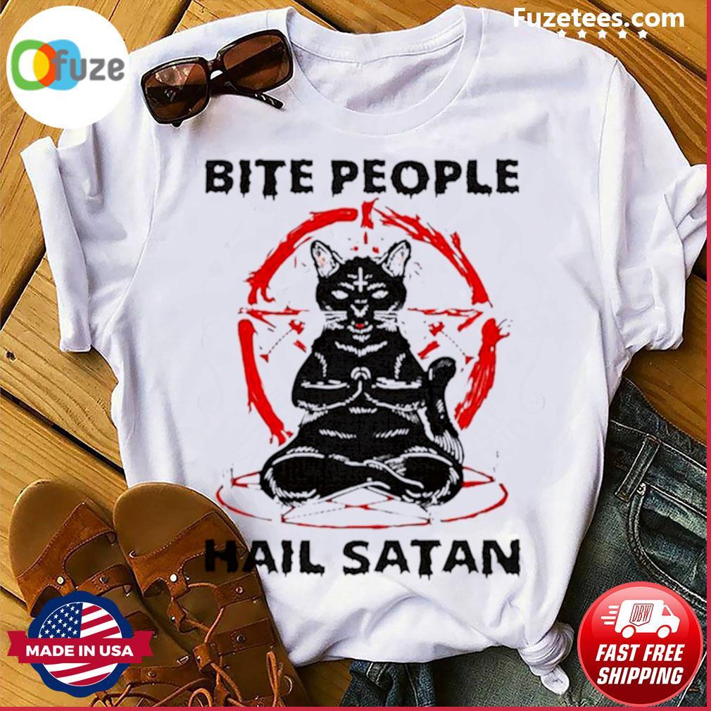 Black cat bite people hail satan shirt