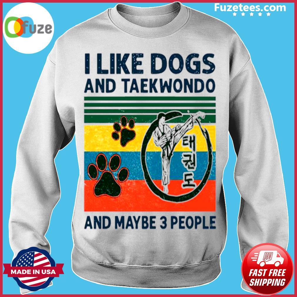 I Like Dogs And Taekwondo And Maybe 3 People Vintage Retro s Sweater