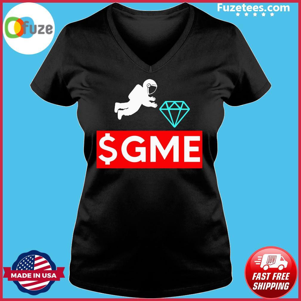 $gme Wallstreetbets Diamond Game To The Moon Shirt Ladies V-neck